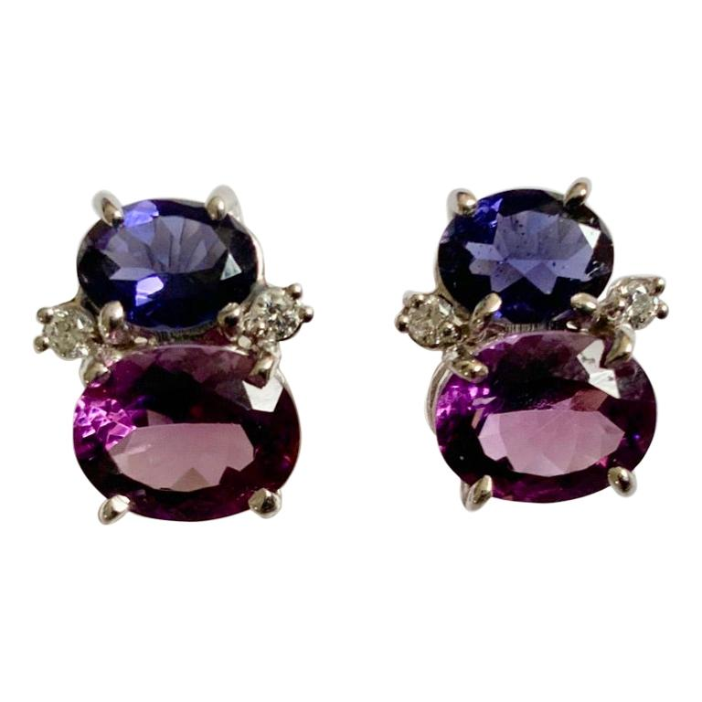 Mini Gum Drop Earrings with Iolite, Amethyst and Diamonds For Sale