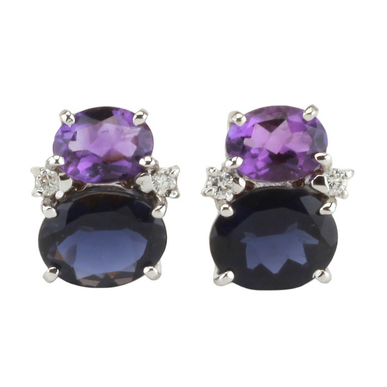Contemporary Mini Gum Drop Earrings with Iolite, Amethyst and Diamonds For Sale