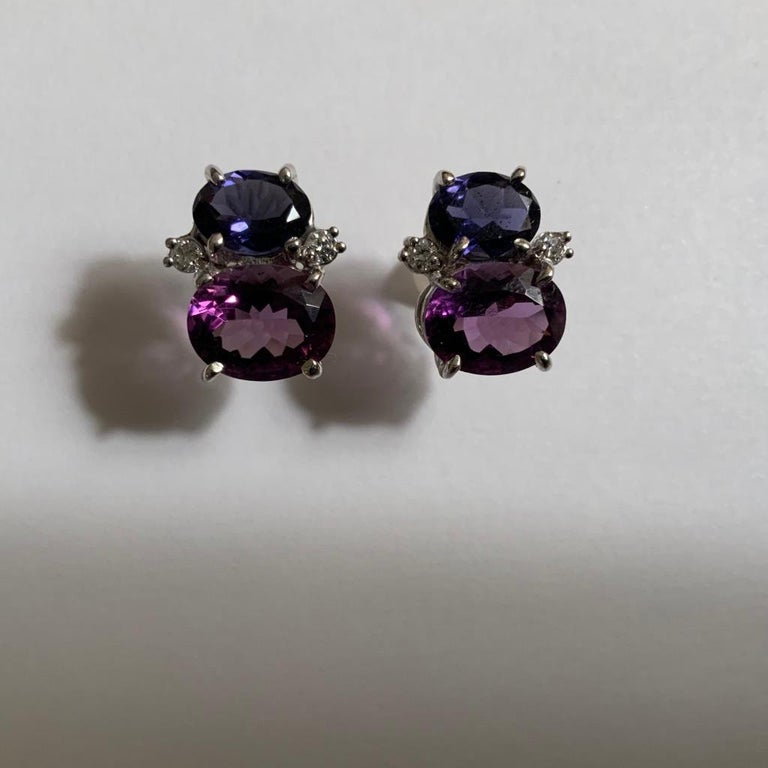 Oval Cut Mini Gum Drop Earrings with Iolite, Amethyst and Diamonds For Sale