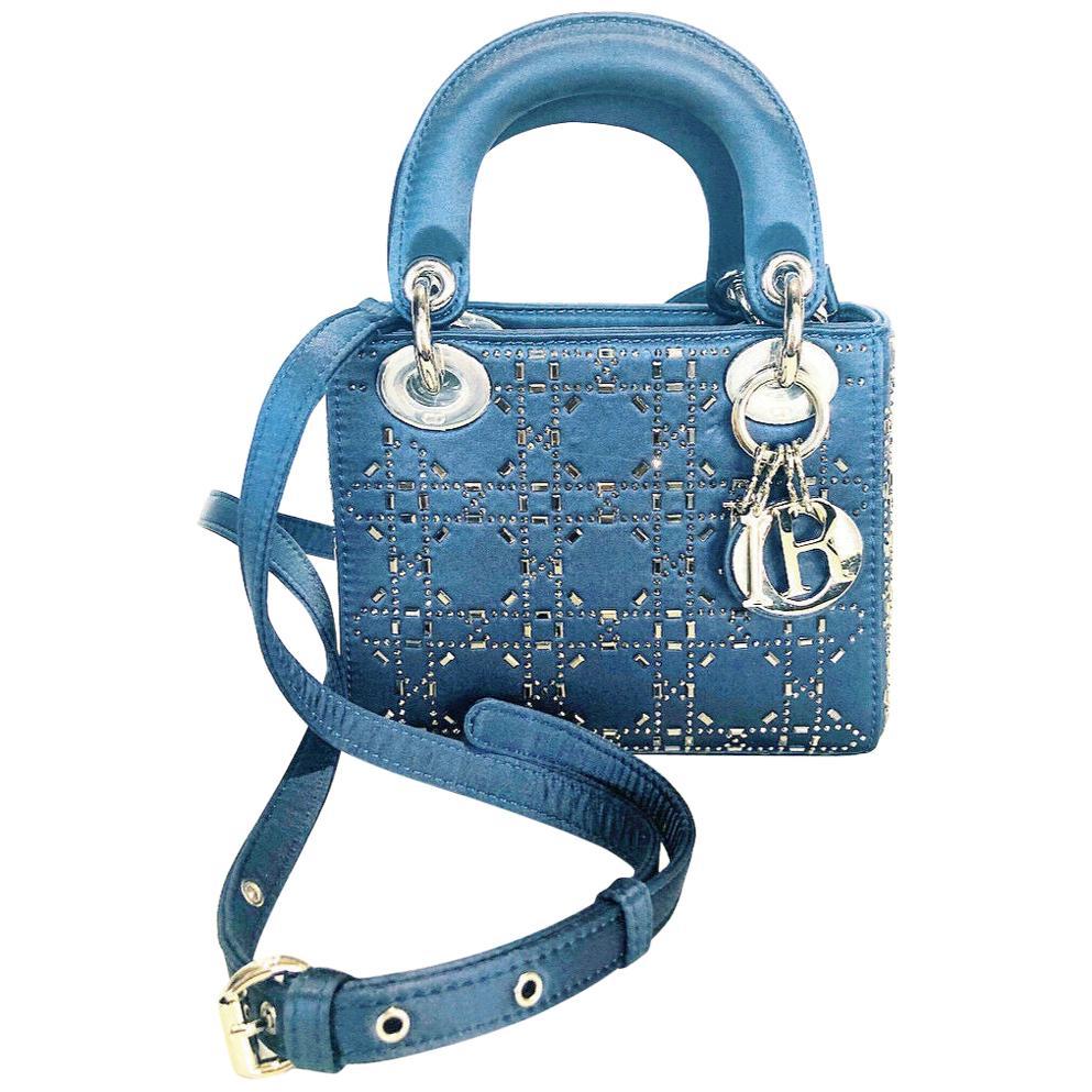 Mini Lady Dior Blue Cannage Satin w/ Rhinestones Handbag