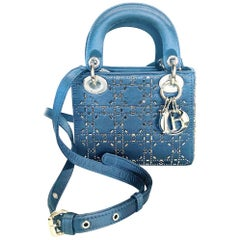Mini Lady Dior Blue Cannage Satin w/ Rhinestones Handbag