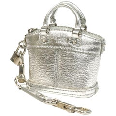 Mini lock it  bag  metallic Color  Womens  charm  silver Leather