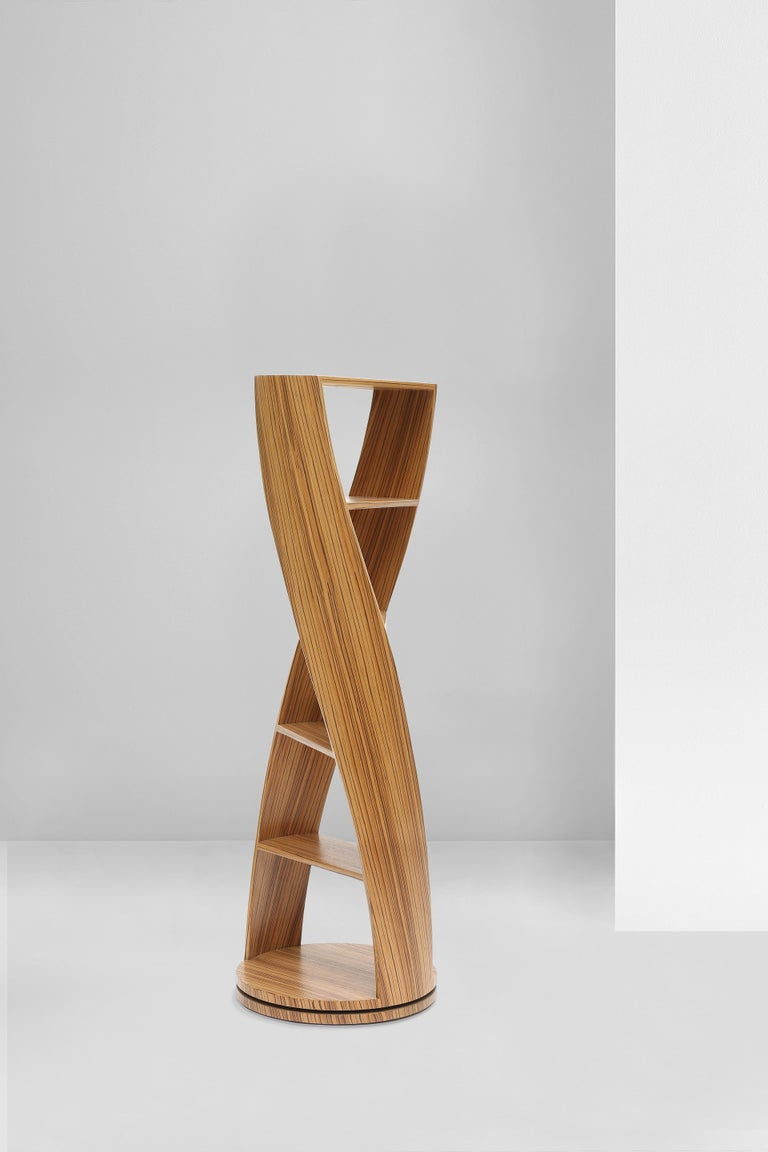 Contemporary Zebrano Bookcase and Storage System Mini MYDNA Collection by Joel Escalona For Sale
