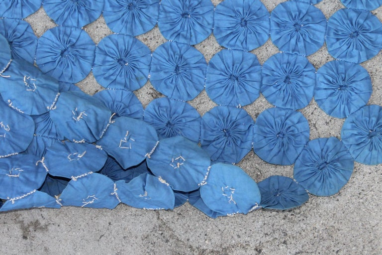 Mini Pieced Diamond in a Square YoYo Quilt For Sale 3
