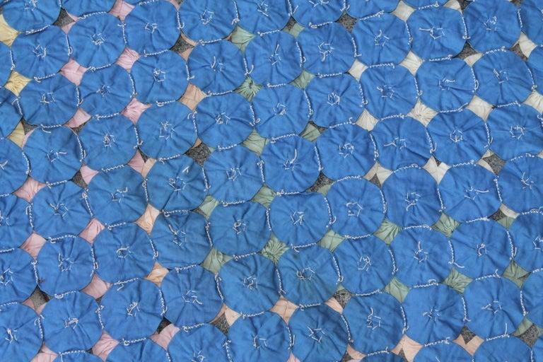 Cotton Mini Pieced Diamond in a Square YoYo Quilt For Sale