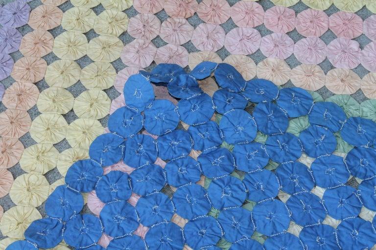 Mini Pieced Diamond in a Square YoYo Quilt For Sale 1