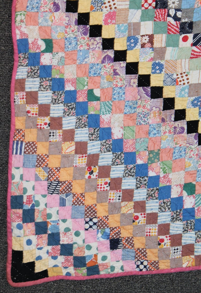 American Mini Pieced Postage Stamp '7000 Pieces' Trip Around The World Quilt For Sale