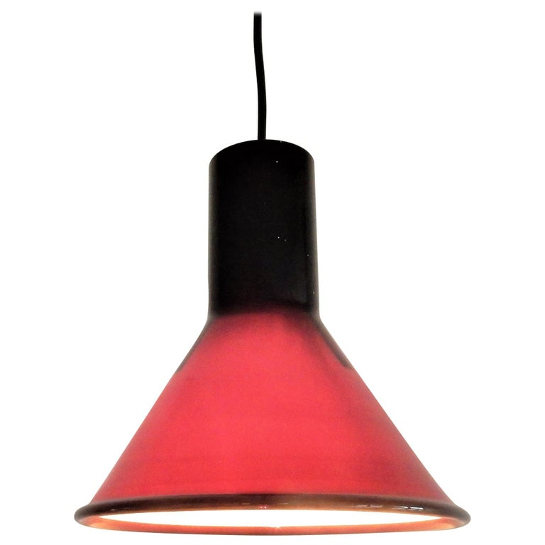 Mini P&T Pendant Lamp by Michael Bang for Holmegaard, Denmark, 1970s For Sale