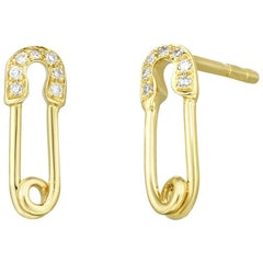 Mini Safety Pin Diamond Earrings, Gold, Ben Dannie