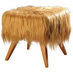 Stool Ottoman Mini with Goat Kidasia Fur