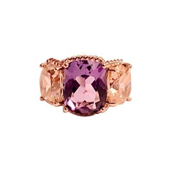 Mini Three-Stone Amethyst Ring and Pink Topaz with Rose Gold Rope Twist Border