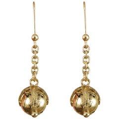 Mini Vintage Masonic Folding Orb Gold Drop Earrings