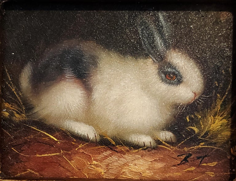 Paintings of Rabbits,  A Pair, Signed LR BT, Oil on board, Early 20th century  The charming pair of miniature paintings each depict a different rabbit. On the right is a white rabbit with a carrot at its front paws. The left rabbit depicts a