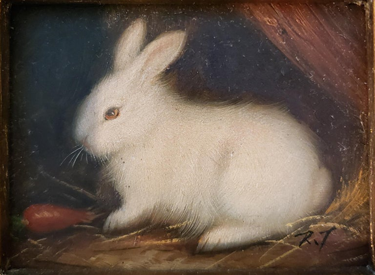 Painted Miniaiture Paintings of Rabbits, a Pair