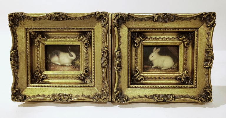 Miniaiture Paintings of Rabbits, a Pair In Good Condition In Downingtown, PA
