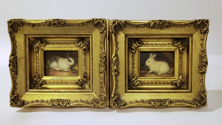 20th Century Miniaiture Paintings of Rabbits, a Pair
