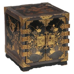 Miniature 17th Century Japanese Lacquer Jewelry Cabinet with Gilt-Bronze Mounts