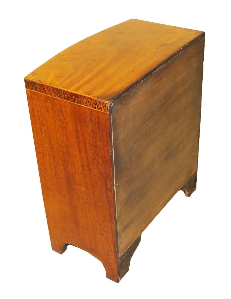 Mid-19th Century Miniature 19th Century Mahogany Bowfronted Chest For Sale
