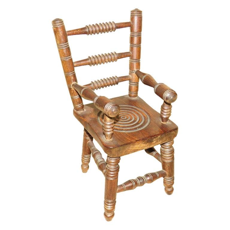 Miniature 19th Century Oak Kitchen Windsor Chair