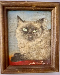 Miniature Oil on Board Painting of Siamese Cat