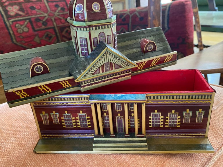 Hand-Painted Miniature Painted House Shaped Stacking Box