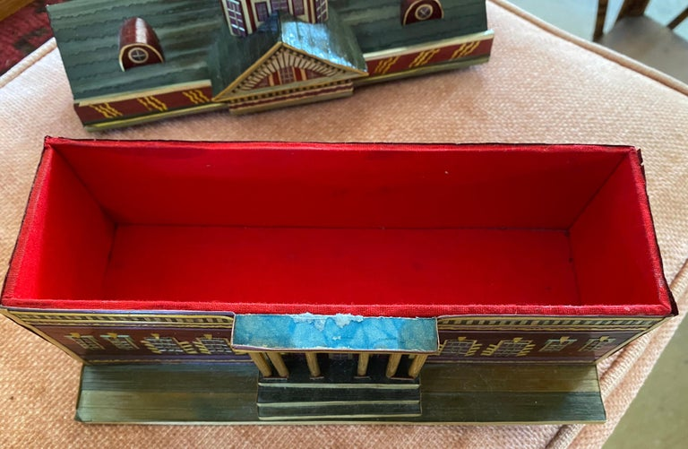 Miniature Painted House Shaped Stacking Box In Good Condition In Great Barrington, MA