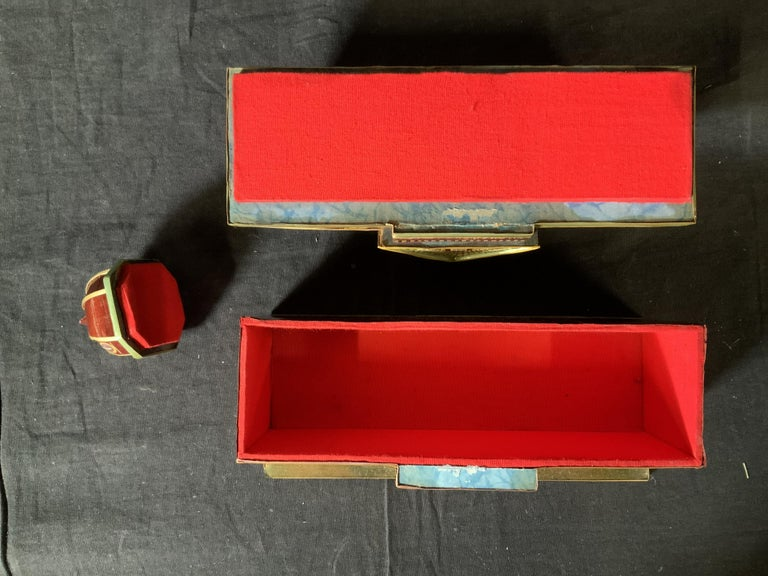 Contemporary Miniature Painted House Shaped Stacking Box