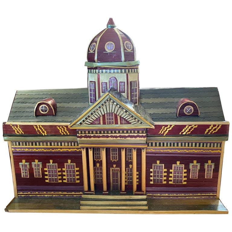 Miniature Painted House Shaped Stacking Box