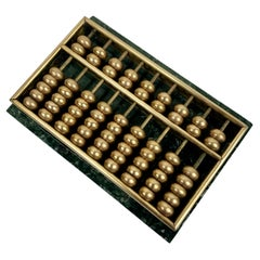 Miniature Abacus-Green Marble and Brass