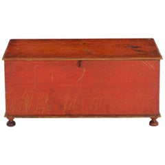 Miniature American Red-Painted Antique Blanket Chest, circa 1820-1840