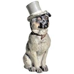 Miniature Antique Austrian Cold-Painted Bronze Whimsical Dog Figurine