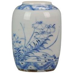 Miniature Antique Chinese Porcelain Ming Period Vase / Pot Flowers Bird