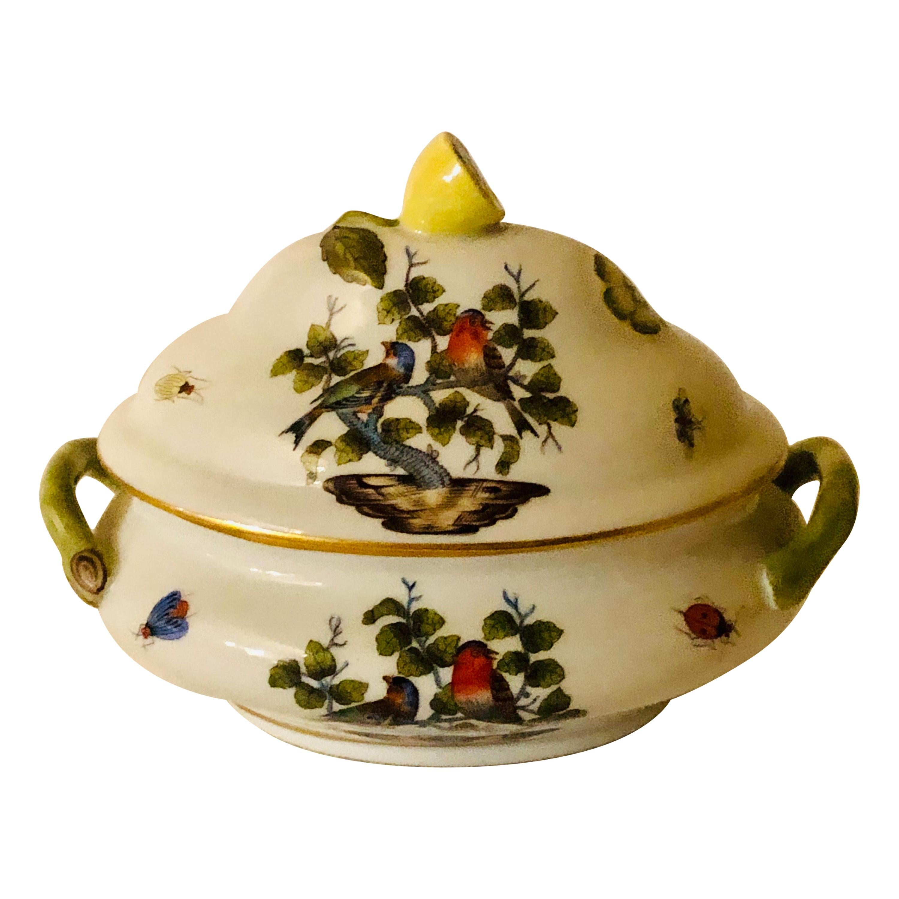 Miniature Antique Herend Rothschild Bird Tureen with Raised Lemon on The Cover