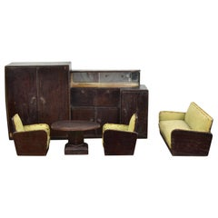 Miniature Art Deco Furniture, Club Chairs, Coffee Table, Seat and Cabinet