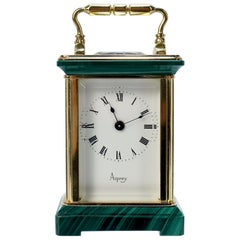 Miniature Asprey Brass and Malachite Miniature Carriage Clock