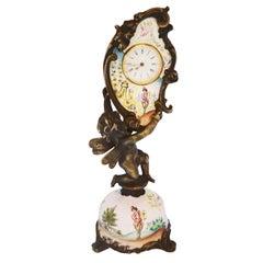Miniature Austrian Enamel Sterling Silver & Bronze Desk Clock
