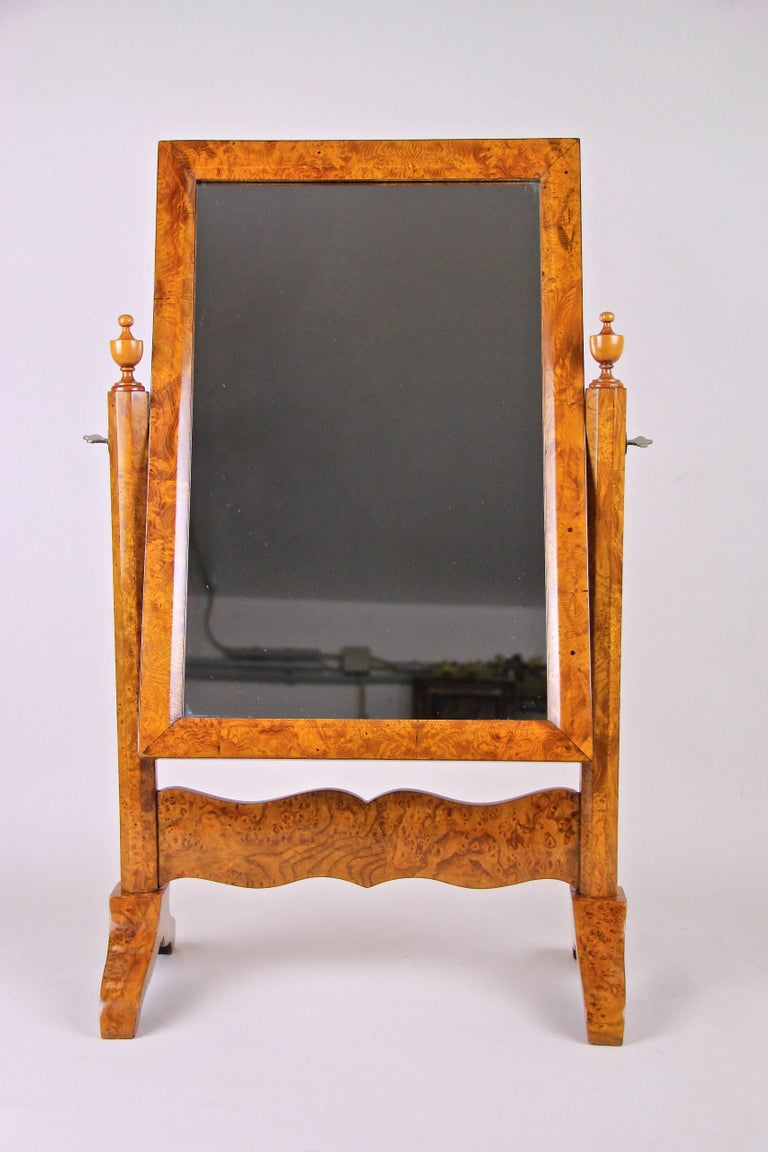 "Unique and rare miniature model of a late Biedermeier vanity mirror from circa 1870 From Vienna, Austria - the world's epicenter of the well-known ""Biedermeier"" period. It is in perfect original condition, only the mirror glass has been renewed"