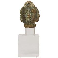 Miniature Bronze Head from Laos or Cambogia