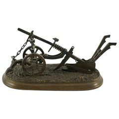 Miniature Bronze Plow, circa 1900
