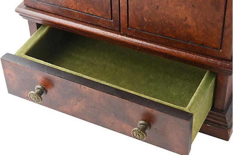 Miniature Burl Wood Armoire Cabinet In Good Condition In Miami Beach, FL