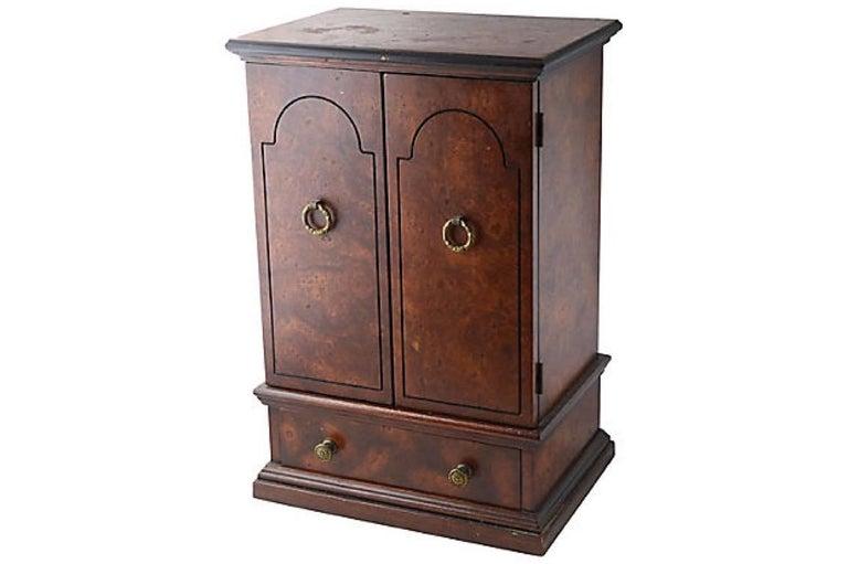 20th Century Miniature Burl Wood Armoire Cabinet