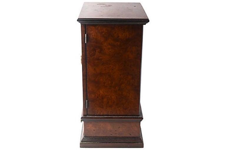 Brass Miniature Burl Wood Armoire Cabinet