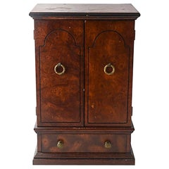 Miniature Burl Wood Armoire Cabinet