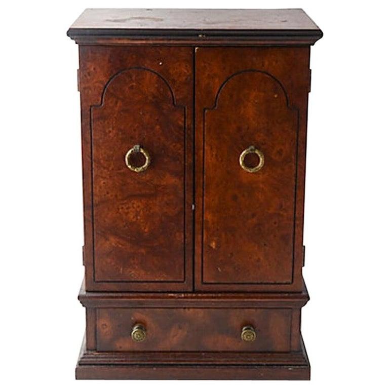 Miniature Burl Wood Armoire Cabinet