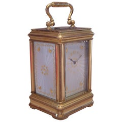 Miniature Carriage Clock with Guilloche Panels