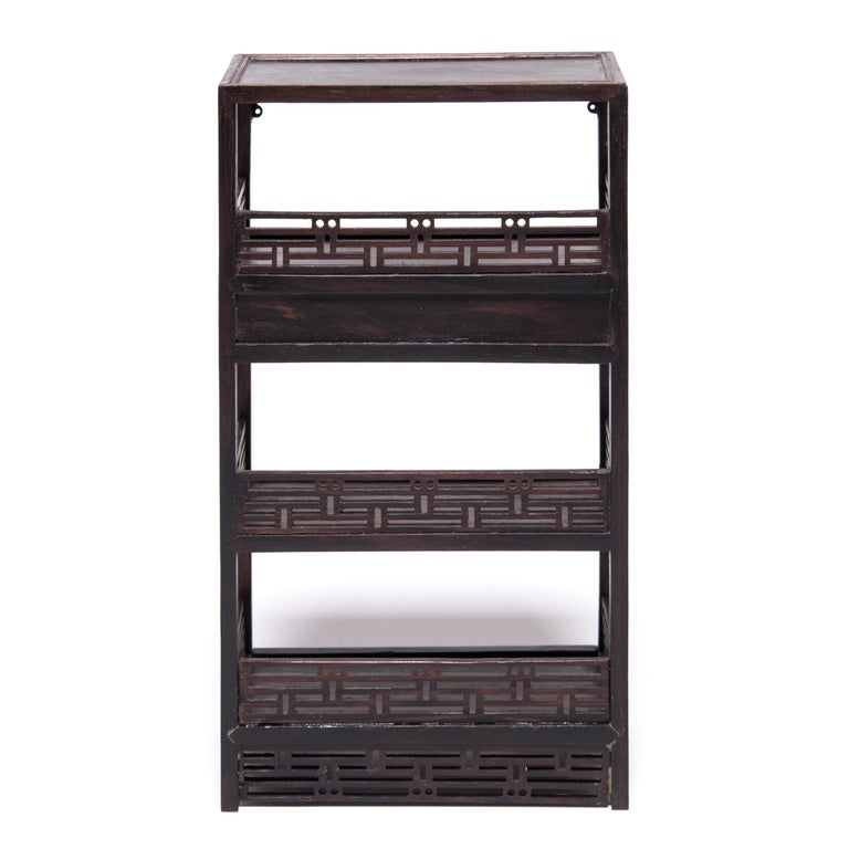 Contemporary Miniature Chinese Hardwood Bookcase For Sale