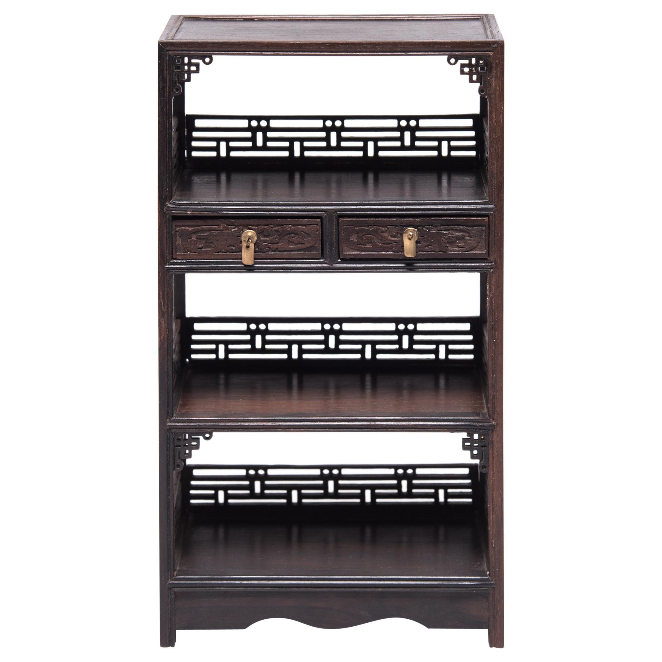 Miniature Chinese Hardwood Bookcase