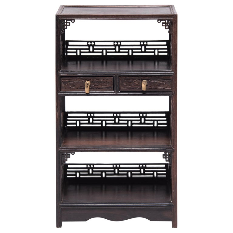 Miniature Chinese Hardwood Bookcase For Sale
