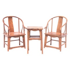 Miniature Chinese Roundback Chairs and Side Table