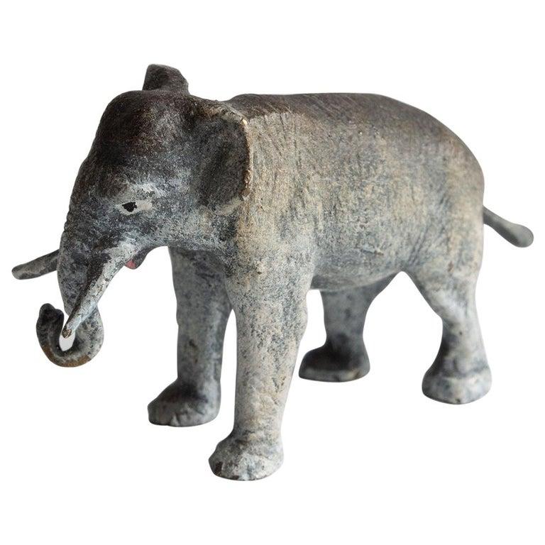 Miniature Cold Painted / Enameled Bronze Elephant